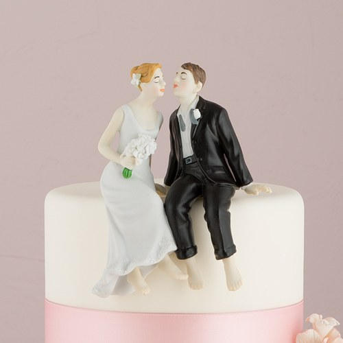 Cake Toppers Uk Bride And Groom : Whimsical Sitting Bride and Groom Cake Topper - Confetti.co.uk