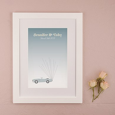 Vintage Convertable with Balloons Signature Wedding Certificate