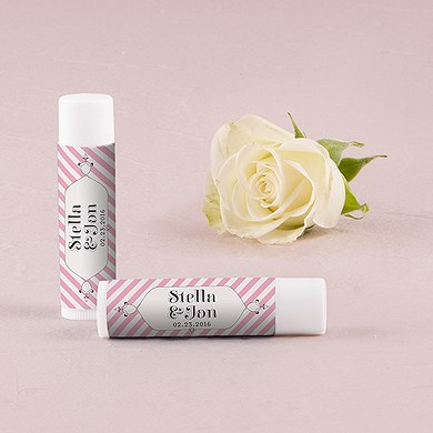 """Candy Stripe"" Personalized Wedding Lip Balms"