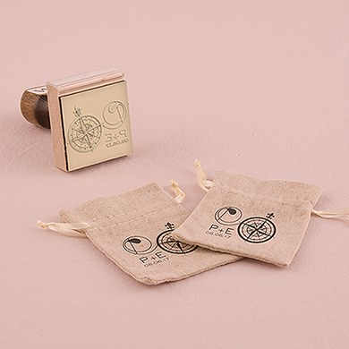 Vintage Travel Monogram Compass Personalized Rubber Stamp