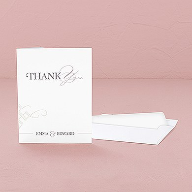 Classic Script Thank You Card With Fold