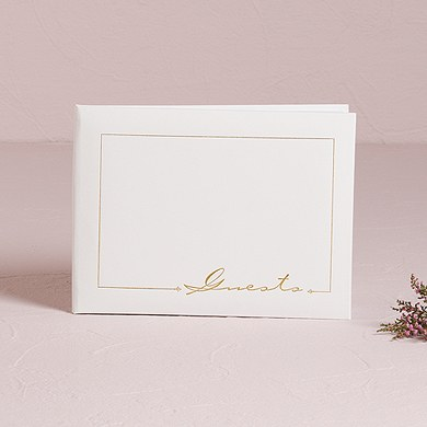 Pearl White with Gold Foil Print Traditional Wedding Guest Book
