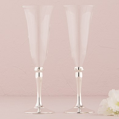Tulip shape Wedding Flutes with Silver Plated Stem and Crystals Goblets