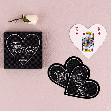 Two of a Kind Heart Shaped Wedding Favor Playing Cards