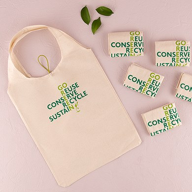 Green Wedding Folding Multiuse Tote bag Favor made of Natural Cotton