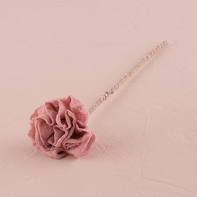 Vintage Pink Fabric Ruffle Flower on a Single Wire Stem - Small