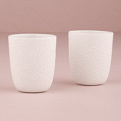 White Porcelain Votive Holder with Embossed Lace Embellishment