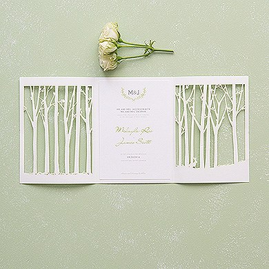 Woodland Pretty Laser Embossed Invitations with Personalization