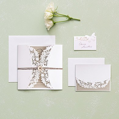 Embossed Floral Elegance with Rustic Elegance Personalization   Invitation