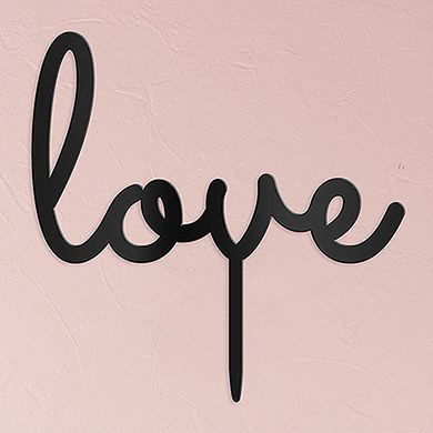 Love Acrylic Cake Topper   Black