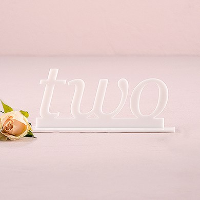 White Acrylic Table Number Word Style