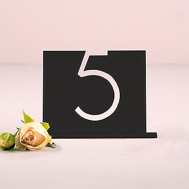 Black Acrylic Table Number   Top Aligned Style
