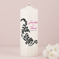 Love Bird Damask Personalized Pillar Candles
