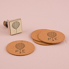 Vintage Travel Monogram Hot Air Balloon Personalized Rubber Stamp
