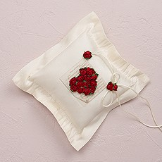Flower of Love In Romantic Red Square Ring Pillow