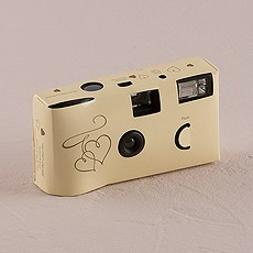 Enchanted Hearts Ivory And Gold Single Use Camera