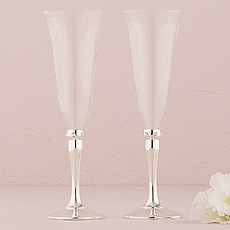 Silver Plated Stem And Crystals Wedding Champagne Flutes