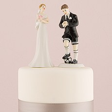 Soccer Player Groom Wedding Cake Topper