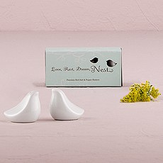 White Love Bird Salt and Pepper Shaker Wedding Favors