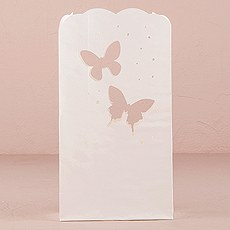 """Light The Way"" White Paper Bags with Die-Cut Butterfly Pattern"
