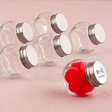 Mini Glass Candy Jar Favor  with Silver Lid