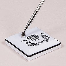 Love Bird Damask in Classic Black and White Pen with Base