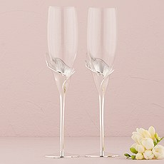 Silver Calla Lily Stem With Glass Wedding Champagne Flutes