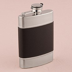 Brushed Stainless and Black Leather Flask