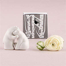 Interlocking Bear Hug Miniature Salt and Pepper Shakers with Gift Packaging