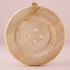 Charming Wooden Button Decoration with Natural Finish - Large