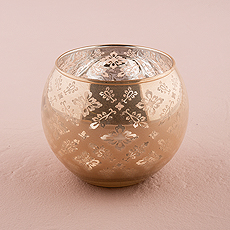 Glass Globe Votive Holder With Reflective Lace Pattern