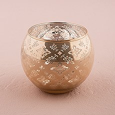 Large Glass Globe Votive Holder With Reflective Lace Pattern
