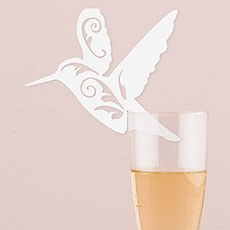Laser Expressions Hummingbird Die Cut Card - White