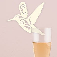 Laser Expressions Hummingbird Die Cut Card - Ivory