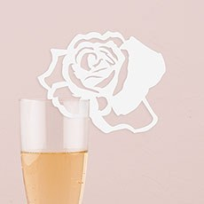 Laser Expressions Rose Die Cut Card - White