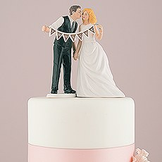 Shabby Chic Bride and Groom Porcelain Figurine Wedding Cake Topper with Pennant Sign