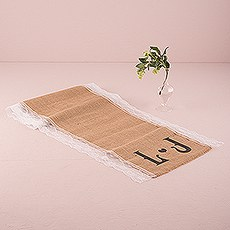 Personalized Long Burlap Table Runner With Lace Edging and Vineyard Monogram
