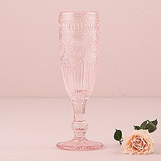 Vintage Style Pressed Glass Flute Pink