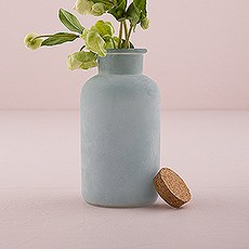Frosted Sea Blue Bottle with Cork Stopper