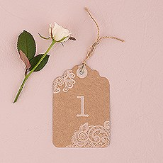 Large Kraft Tag with Vintage Lace White Print Numbers