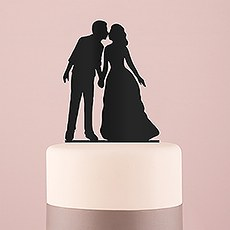 With a Kiss Silhouette Acrylic Cake Topper - Black