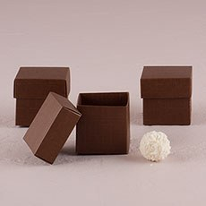 Chocolate Brown Square Favor Box with Lid