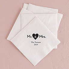 Mr. & Mrs. Heart Printed Napkins