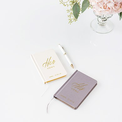 Ivory Linen Pocket Journal His Vows Emboss