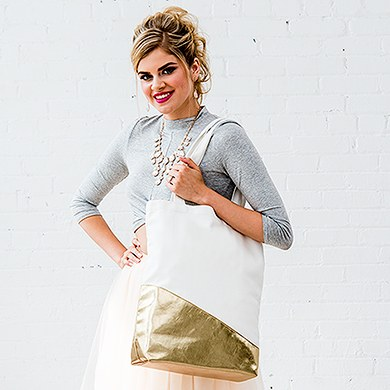 Large Canvas Tote Bag with Metallic Gold