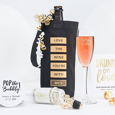 Love The Wine You're With Personalized Black Canvas Wine Tote Bag