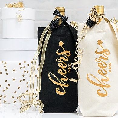 Cheers Personalized Black Canvas Wine Tote Bag