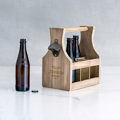 Wood Bottle Caddy with Opener Brewery Co. Etching