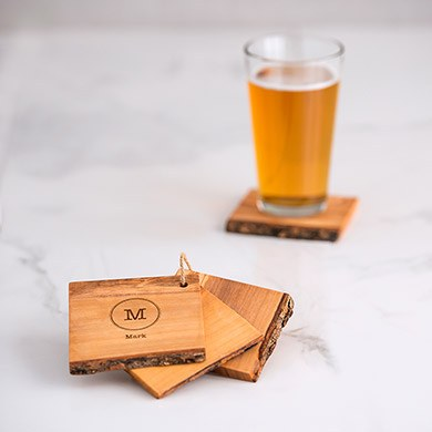 Rustic Wood Coaster Set   Typewriter Monogram Etching