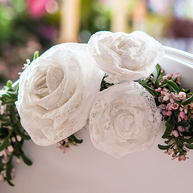Decorative Rolled Fabric Lace Flower - Medium